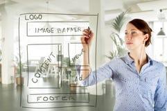 För teckningswebsite för rengöringsduk märkes- wireframe för utveckling Royaltyfri Foto