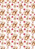 För Teddy Bear Saint Valentine för tecknad film älskvärd textur för modell för bakgrund för dag ` s stock illustrationer
