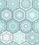 För tegelplattagolv för blå gräsplan modell för patchwork för samling för prydnad ursnygg sömlös Arkivfoto