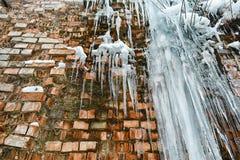 För tegelstenvägg för Closeup abstrakt gammal bakgrund med sprickais, mossa och filialer av buskar, istappar, isför mycket på teg Royaltyfri Fotografi