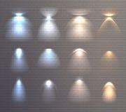 För tegelstenvägg för ljusa effekter uppsättning royaltyfri illustrationer
