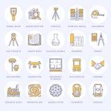 För teknikvektor för geodetisk granskning linje symboler för lägenhet Geodesiutrustning, tacheometer, teodolit, tripod geologiskt Royaltyfria Bilder
