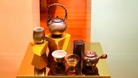 För tekruka för traditionell kines uppsättning Arkivfoto