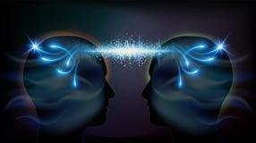 För telepatiinspiration för mänskligt huvud medvetenhet för enhet för insikt vektor illustrationer