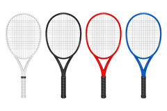 För tennisracket för vektor realistisk uppsättning, closeup på vit bakgrund Designmall i EPS10 Royaltyfri Bild