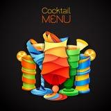 för tequilasoluppgång för coctail 3D design gears symbolen grönsaker för bakgrundsdesignmeny Royaltyfri Illustrationer