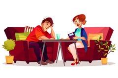 För terapivektor för psykolog tålmodig illustration vektor illustrationer