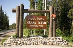 För Teton för välkommet tecken storslagen Förenta staterna nationalpark Arkivbilder