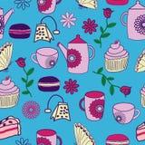 För teträdgård för vektor för Partry för blått te bakgrund sömlös modell royaltyfri illustrationer