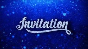 För textönska för inbjudan blåa hälsningar för partiklar, inbjudan, berömbakgrund