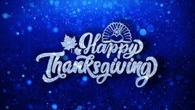 För textönska för lycklig tacksägelse blåa hälsningar för partiklar, inbjudan, berömbakgrund