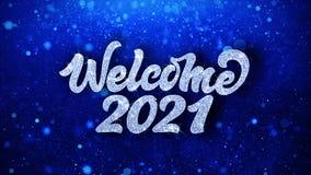 För textönska för välkomnande 2021 blåa hälsningar för partiklar, inbjudan, berömbakgrund