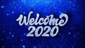 För textönska för välkomnande 2020 blåa hälsningar för partiklar, inbjudan, berömbakgrund
