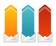 För textask för vektor färgrik pil Royaltyfri Bild