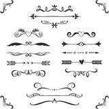 För textavdelare för tappning dekorativ samling tecknad handvektor Royaltyfri Bild