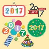 För textdesign för lyckligt nytt år 2017 illustration för datum för parti för hälsning för beröm för vektor idérik grafisk stock illustrationer