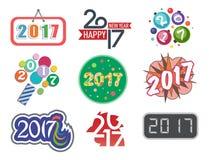 För textdesign för lyckligt nytt år 2017 beröm för vektor idérik grafisk stock illustrationer