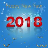 För textdesign för lyckligt nytt år 2018 vektor Fotografering för Bildbyråer