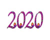 För texteffekt för lyckligt nytt år 2020 PNG royaltyfri illustrationer