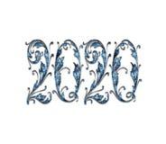 För texteffekt för lyckligt nytt år 2020 PNG stock illustrationer