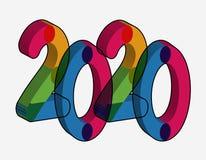 För texteffekt för lyckligt nytt år 2020 PNG vektor illustrationer