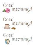 För textfärg för bra morgon illustration för grafik för uppsättning Royaltyfria Bilder