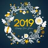 2019 för textinsida för lyckligt nytt år guld- prydnad Ca för guld- cirkel royaltyfri illustrationer