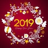 2019 för textinsida för lyckligt nytt år guld- prydnad Ca för guld- cirkel stock illustrationer