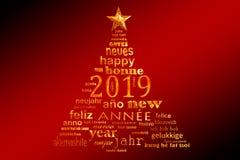 för textord för nytt år 2019 flerspråkigt kort för hälsning för moln i formen av ett julträd vektor illustrationer