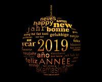 för textordet för nytt år 2019 klumpa ihop sig det flerspråkiga molnet i formen av jul arkivfoton