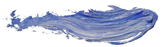 För texturmålarfärg för blå och vit olja slaglängd för borste för fläck, arkivfoto