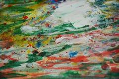För texturmålarfärg för röd målarfärg guld- vita fläckar för vattenfärg Arkivbild