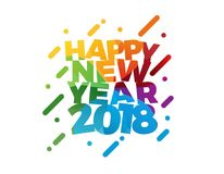 För textvektor för lyckligt nytt år 2018 färgrik design för kort för hälsning för illustration Arkivfoto