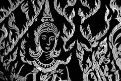 för thailand för rött tempel för southeast för phetchaburi för forntida för asia buddha buddistisk färgguld för korridor ochre fö royaltyfri foto
