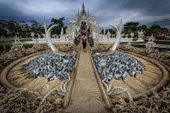 för thailand för tempel för uppgift för rong för rai för khun för härlig chiang för konstdragningar kulturell fin white wat Royaltyfri Bild