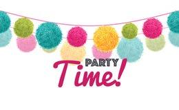 För Tid för parti för lycklig födelsedag för vektor modell för gräns för repetition för färgrika Pom Poms Set On Two text rader h stock illustrationer