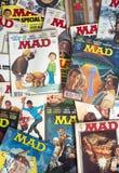 För tidskrifttecknad film för gammal tappning tokiga humorböcker Arkivbilder