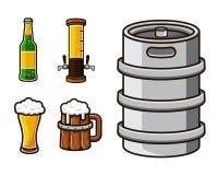För tillgångillustration för modernt öl grafisk uppsättning royaltyfri illustrationer