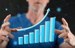 för tillväxtbild för begrepp 3d finansiell bärbar dator Arkivbilder