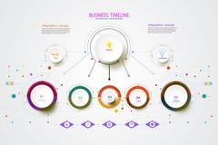 För timelineteknologi för vektor infographic mall med moment 3 Royaltyfri Fotografi