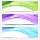 För titelradfooter för modern rengöringsduk ljus glödande uppsättning vektor illustrationer