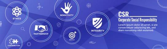 För titelradrengöringsduk för socialt ansvar ärlighet för w för baner, fullständighet, samarbete, rengöringsdukbanertitelrad royaltyfri illustrationer