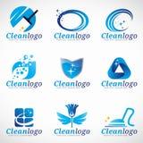 För tjänste- fastställd design logovektor för rengöring och för hushållning Royaltyfri Bild