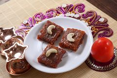 För tomatdessert/för tomat barfi/Takkali barfi/Tamatar barfi Arkivfoto