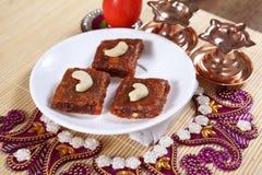 För tomatdessert/för tomat barfi/Takkali barfi/Tamatar barfi Arkivfoton