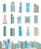 För tornkontor för skyskrapor inhyser byggnader isolerad arkitektur för stad illustrationen för affärslägenhetvektorn Arkivbilder