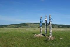 ` För totempåle`-sergÄ- i stäppen på den Olkhon ön Royaltyfri Bild