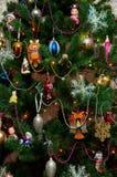 För trädleksaker för nytt år vinter för jul prydlig arkivfoto