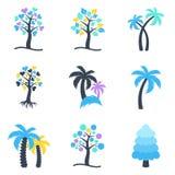 För trädsymboler för vinter abstrakt samling Arkivfoto