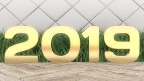 2019 för tränummer 3d för lyckligt nytt år tolkning på trätabellen Moderiktig räkning royaltyfri fotografi